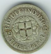 George VI, Silver (.500), Threepence 1942 (Issued for Colonial Use), F, M7680